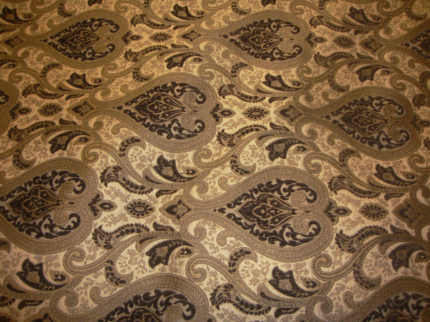 "Gold Brown Monte Cristo Damask Print Chenille 56"" Wide 