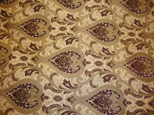 "Gold and Wine Monte Cristo Damask Print Chenille 56"" Wide 