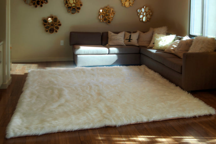 10' x 12' White Shaggy Fur Faux Fur Rug rectangle shape plush soft modern fur rug living room area rug