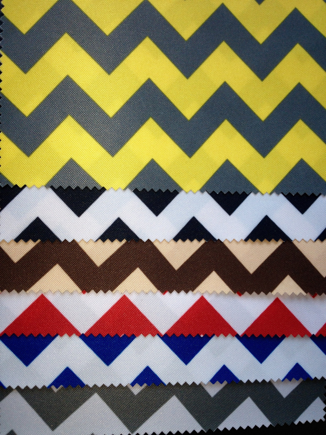 "Chevron Zig Zag 600 Denier Waterproof UV Protection Polyester Canvas 60"" Wide 
