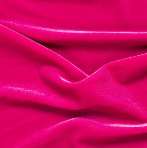 "Spandex Stretch Velvet Fuchsia 2-Way  dance wear home decor fabric by the yard 60"" Wide"