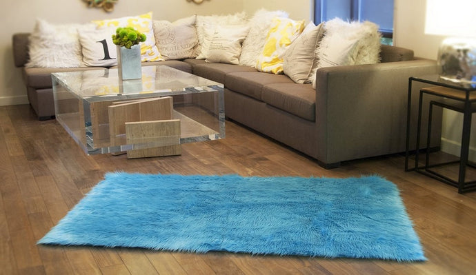 3' x 5' New Premium Aqua Shag Fur Area Rug Nursery Room Decor Home Accents black shaggy Contemporary Modern Shag Carpet Throw Rug