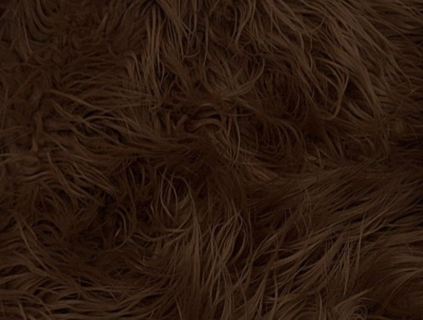 "Brown Mongolain Faux Fur Long Pile Fabric 60"" Wide 