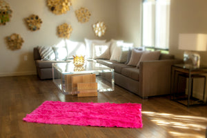 Hot Pink Shaggy Plush Faux Fur Rectangular 8'x10' Area Rug || Home Decor