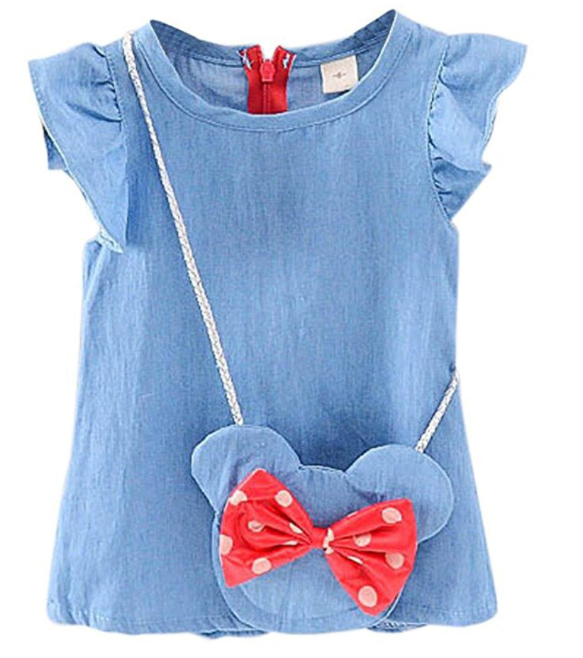 Denim dress Minnie inspired messenger bag