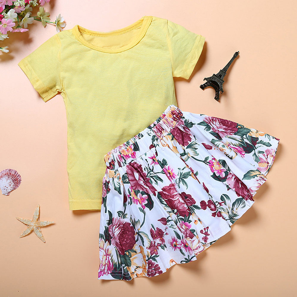 Floral Dress Short Sleeve Top T-Shirt+Skirt Outfits Set Clothes