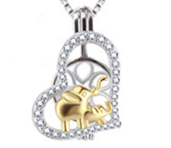 Mom and Baby Elephant  Sterling Silver Cage sku # 131-C