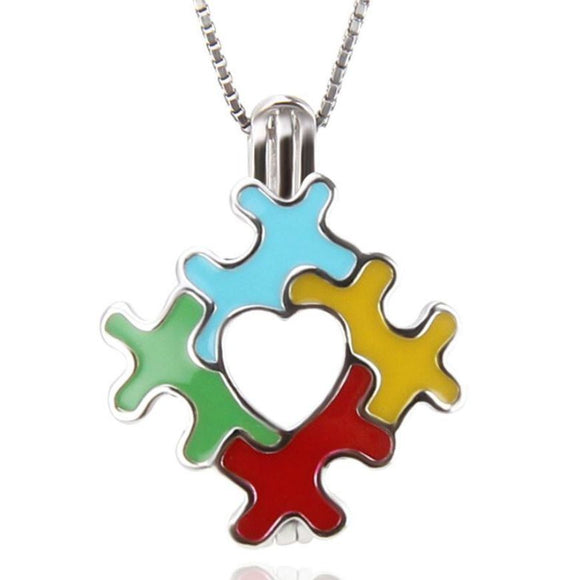 Autism Puzzle Sterling Silver Cage sku # 167-c