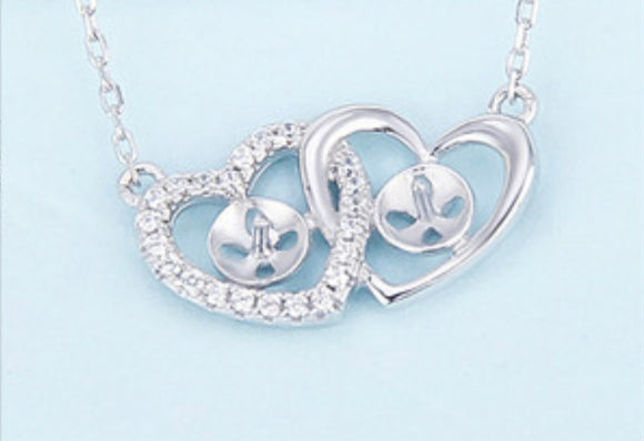 Two Hearts Sterling Silver Bracelet sku # 412-b