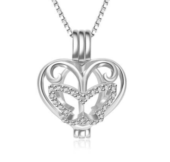 Butterfly Heart Sterling Silver Cage sku # 125-C