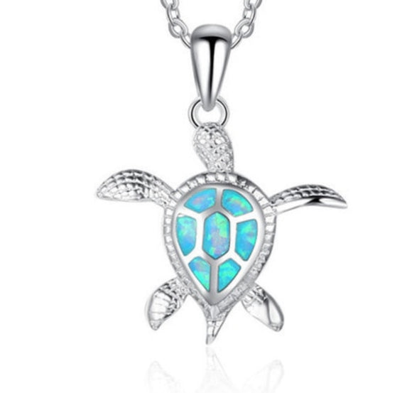 Sea Turtle with a Blue Fire Opal Pendant sku # 307-N