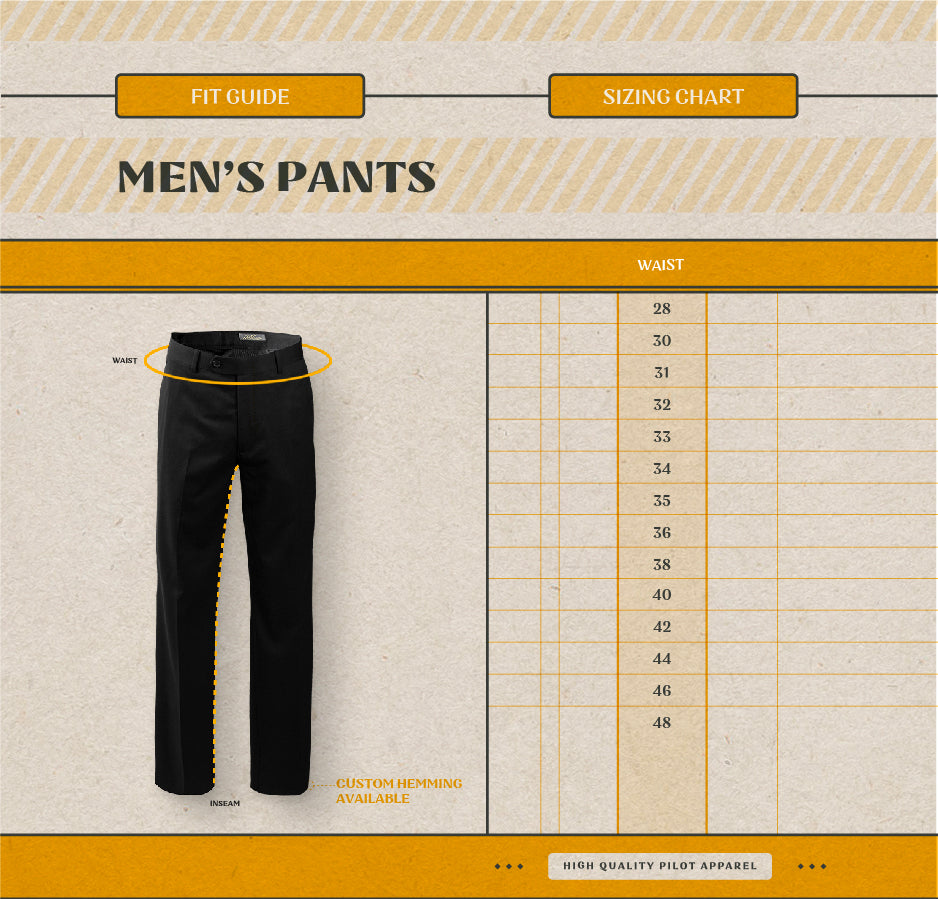 Men's Pants Size Guide
