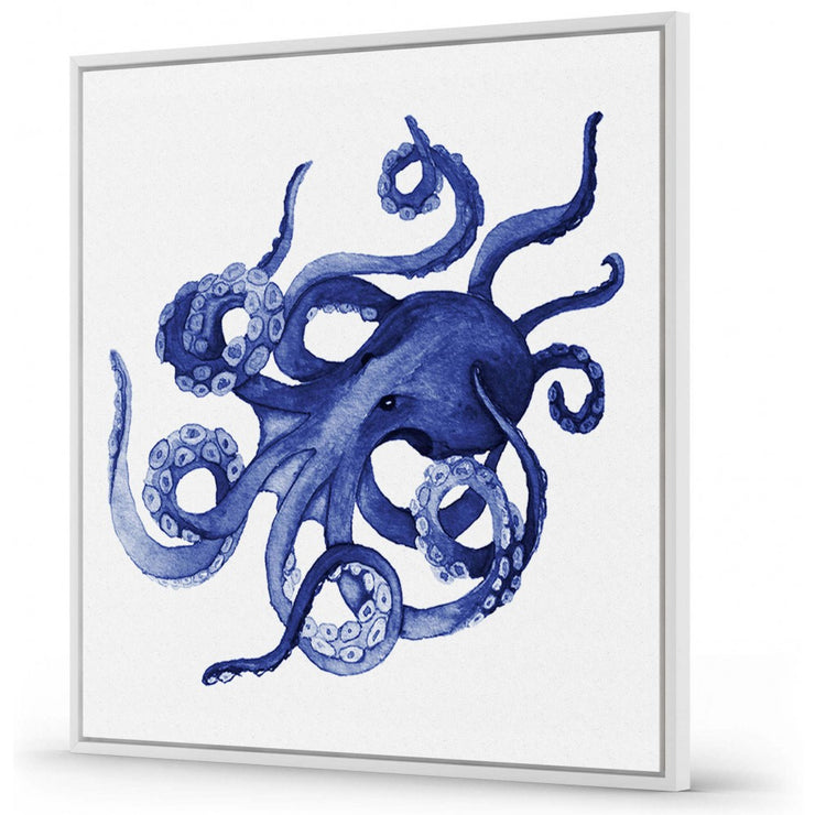 'Wild Thoughts' Navy Watercolour Octopus Floating Frame