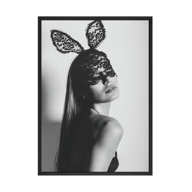 Kate Moss Black White Photography Print Canvas-Discover Your Nook