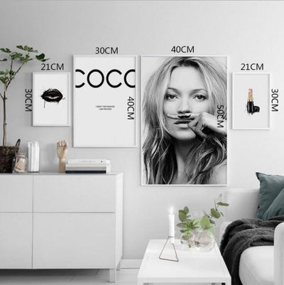 Supermodel Kate Moss Sexy Lips Print Canvas-Discover Your Nook