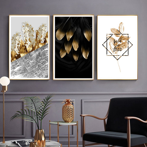 Golden Plants Flowers Canvas-Discover Your Nook