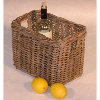 Oblong Greywash Rattan Storage Basket