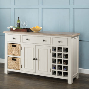 White Painted Portland Large Sideboard with Wine Racks & Baskets