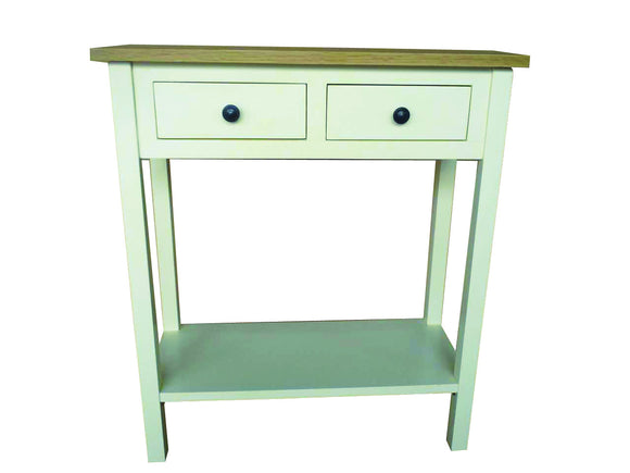 Cream Painted 2 Drawer Telephone Table with Oak Top