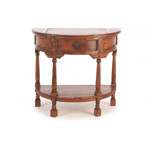 Dark Rustic Half Round Table