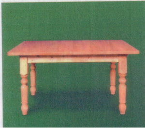 "Classic Farmhouse Table (38mm Thick Top) 4"" Turned Legs"