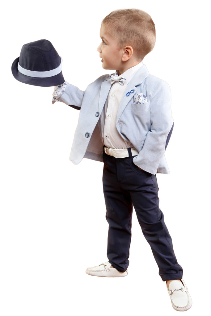 ae86b8f43458 Boys Stripe Blue Blazer with Navy Trousers   White Shirt