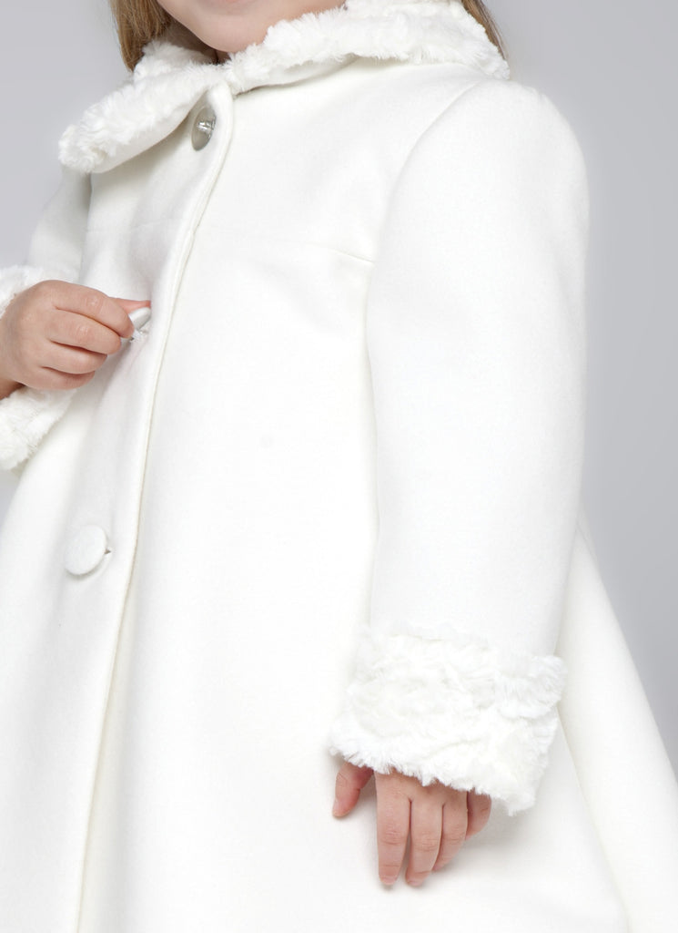 Girls Off-White Coat with Faux Fur on Cuffs & Collar | Junior Couture