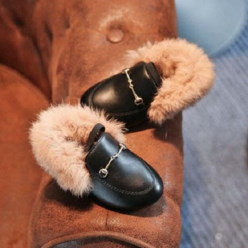 Fur Buckle Shoes