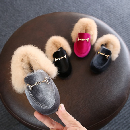 Velour/Fur Buckle Shoes
