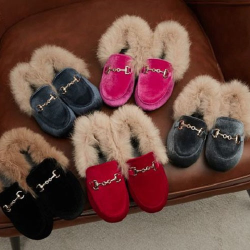 Velour Fur Buckle Shoes