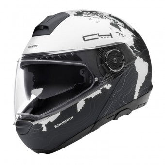 schuberth c4 pro magnitudo black and white modular motorcycle helmet