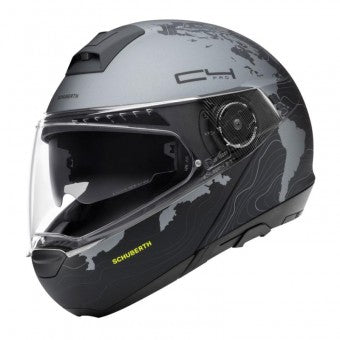schuberth c4 pro magnitudo black and silver modular motorcycle helmet