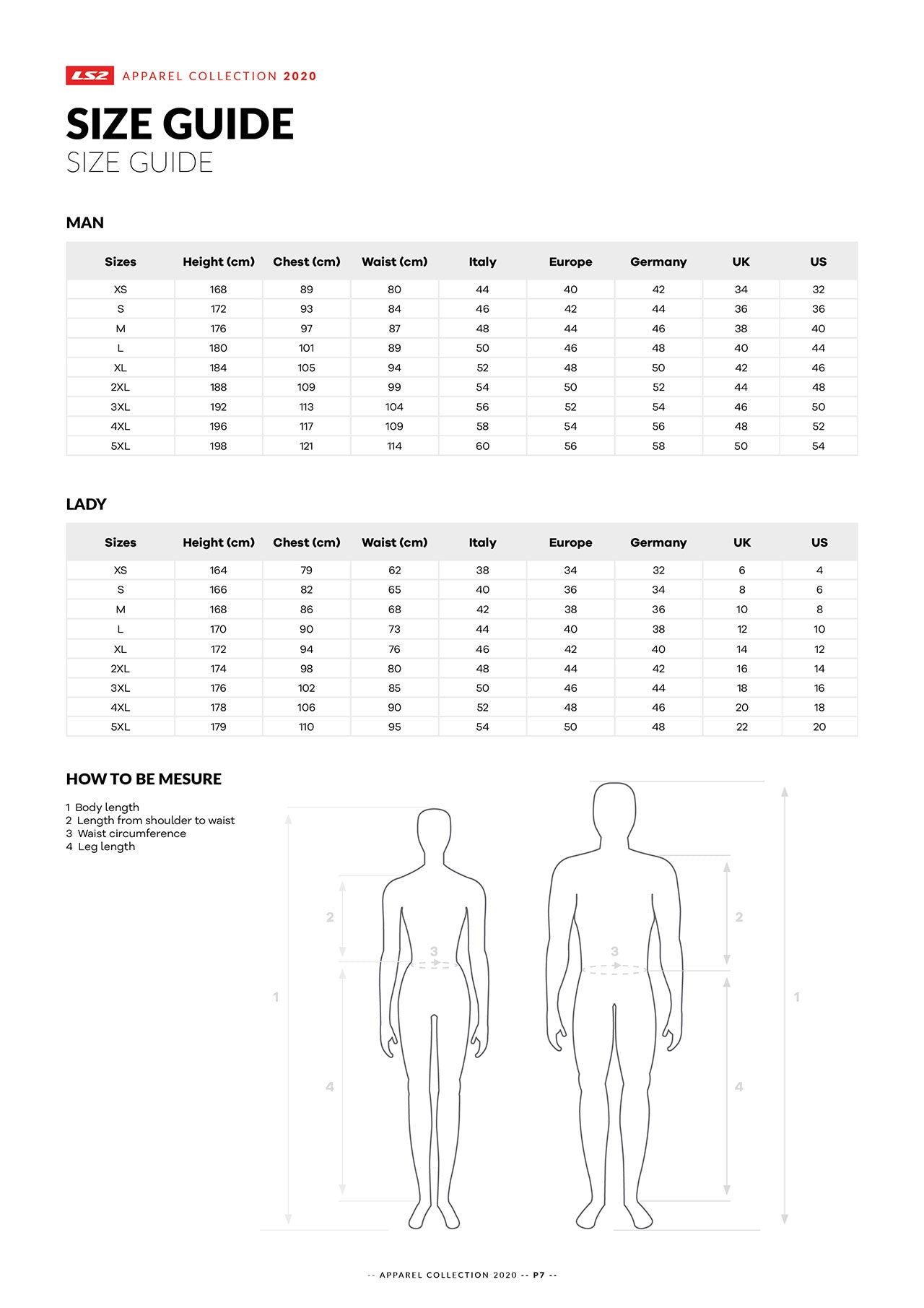 ls2 apparell & clothing size guide