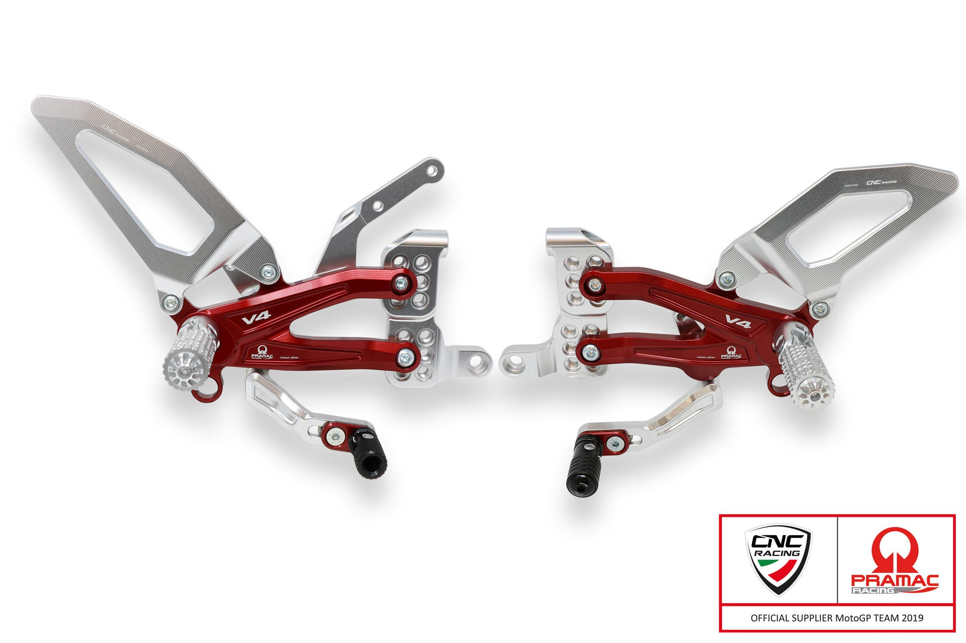CNC Racing Pramac Adjustable Rearsets - Panigale V4/S, Rearsets, CNC Racing - Averys Motorcycles