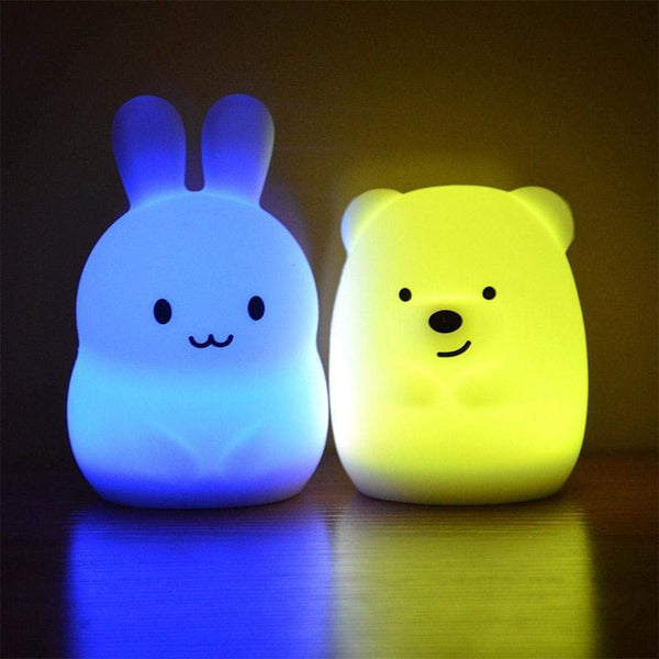 Rabbit + Bear LED Color-Changing Night Light