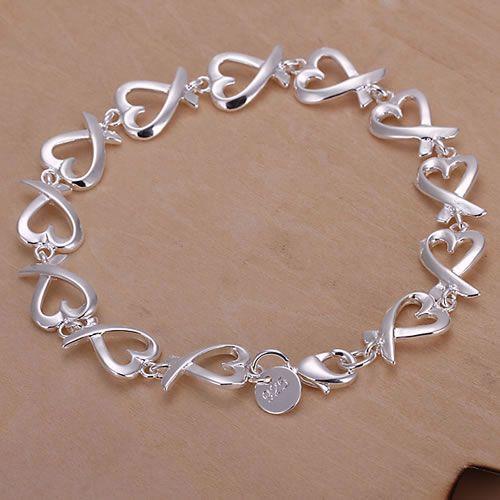 Sterling Silver Heart Shaped Bracelet
