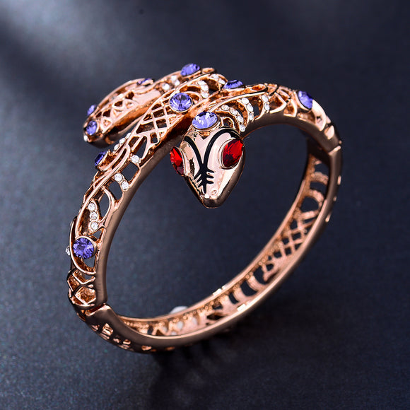 Rose Gold Colored Snake Bangle Bracelet