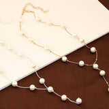 Imitation Pearl Jewelry Set in Gold & Silver