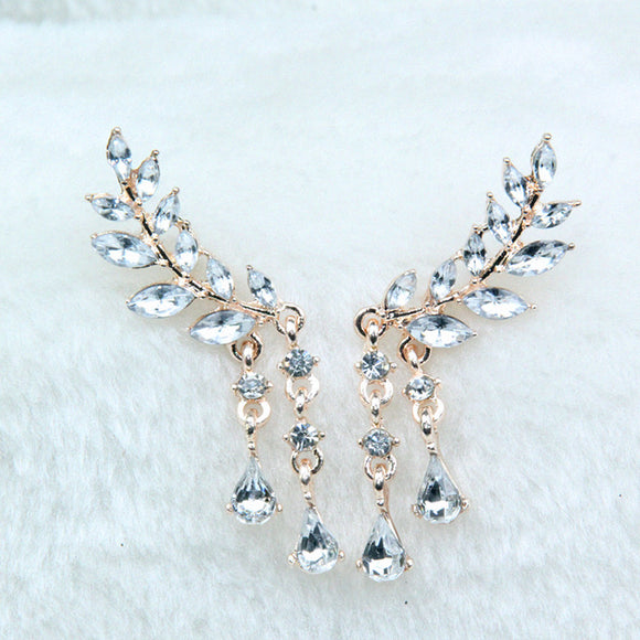 Angel Wings Rhinestone Stud Earrings - 2 Colors