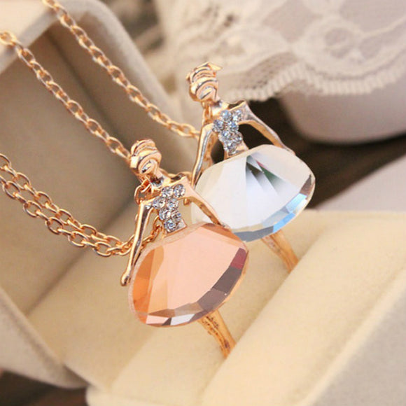 Crystal Ballerina Pendant Statement Necklace - 2 Colors