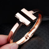 Stainless Steel T Bangle Bracelet (2 colors)