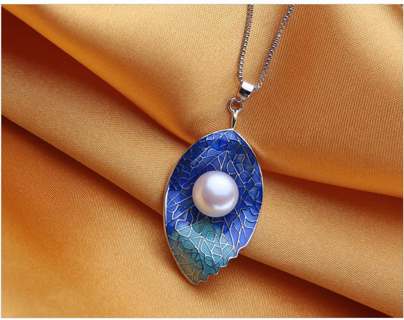 Fancy Blue/Aqua Pearl Leaf Necklace Pendant