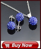 Crystal Sterling Silver Pendant Necklace & Dangle Earrings Set - various colors