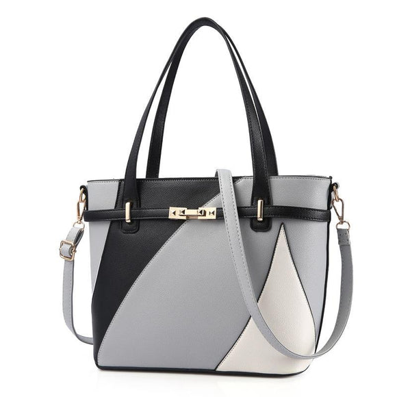 Geometric Grey Shade Luxury Pleather Tote Handbag