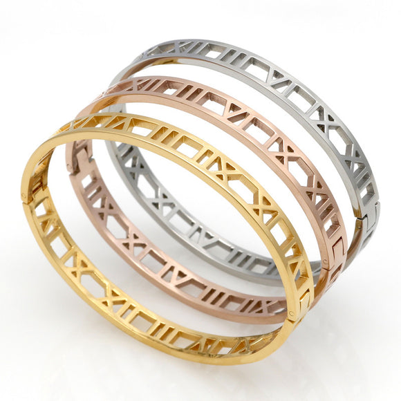 Roman Numeral Bangle Bracelet - 3 Colors