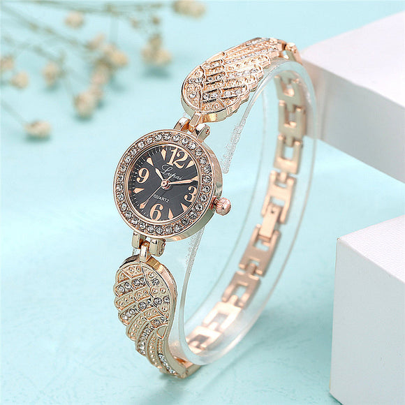 Rhinestone Slim Wing Band Wrist Watch - 5 Styles