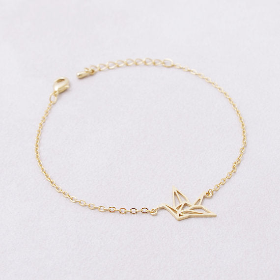 Origami Crane Chain Bracelet - 2 Colors