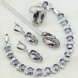 Sterling Silver Mystic Rainbow Jewelry Set