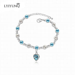 Silver Studded Heart Crystal Bracelet - 17 Colors