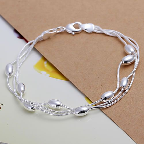 Silver Three Tier Gloss Ball Bracelet